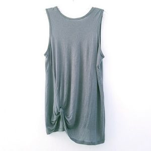 All Saints Mellon Knot Front Gray Sleeveless Tank